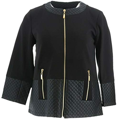 Dennis Basso Ponte Croped Jacket Quilted Faux Leather Trim Black 4 New A274897 from Dennis Basso