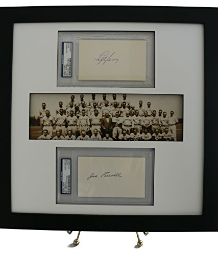 Graded-and-Framed Framed Display featuring PSA/DNA 3x5 Autographs of Lefty Gomez & Joe Sewell w/Panoramic Print