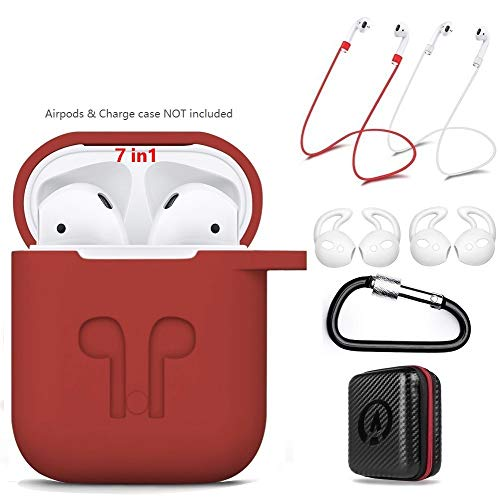 AirPods Case 7 In 1 Airpods Accessories Kits Protective Silicone Cover and Skin for Apple Airpods Charging Case with Airpods Ear Hook Grips/Airpods Staps/Airpods Clips/Skin/Tips/Grips(Red)by Amasing