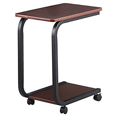 2 Tier Coffee Sofa Side End Snack Tray Table Cart Rolling Over Bed Laptop Table