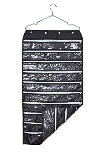 MOT Global Hanging Jewelry Organizer Holder Bag Double Sided Storage 80 Pockets with Zipper (Hanger Included) Black-80