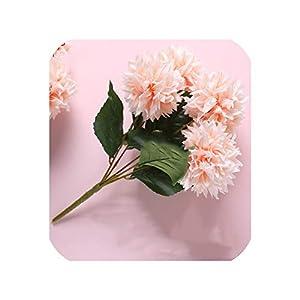 New 5 Head/Bunch Artificial Silk Corsage Headdress Dahlia Daisy Chrysanthemum Flowers Handmade DIY Home Decor Flower Head,Champagne 81