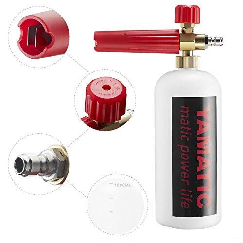 YAMATIC Adjustable Foam Cannon 33 fl. oz (1Liter) Bottle Snow Foam Lance 1/4'' Quick Release Foam Blaster Pressure Washer Gun