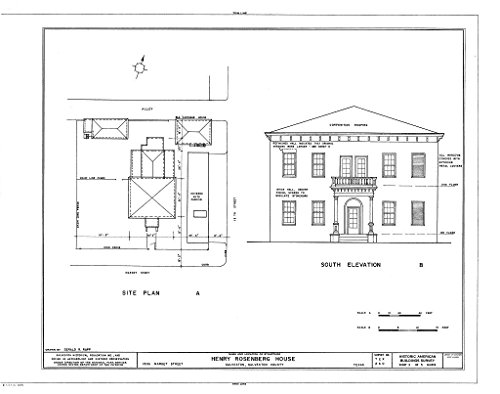 Historic Pictoric Structural Drawing HABS TEX,84-GALV,13- (Sheet 3 of 5) - Henry Rosenberg House, 1306 Market Street, Galveston, Galveston County, TX 55in x 44in