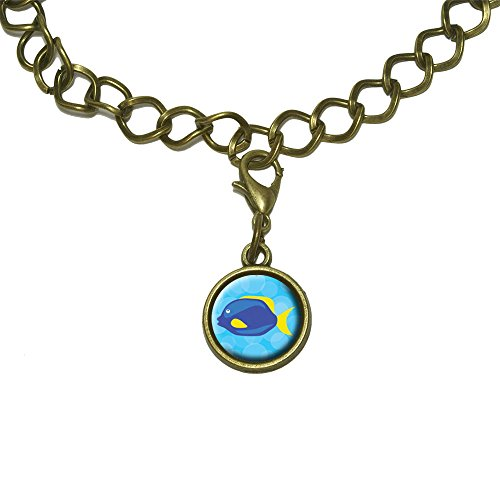 Tropical Fish Blue Yellow Charm with Chain Bracelet