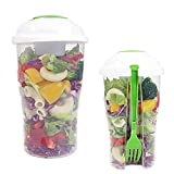 Fiesta Fresh Salad On Go Cup Container Serving Cup Shaker with Dressing Container Fork Food Storage Use for Picnic Plastic