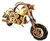 Blue Orchid Handmade Bike Model Harley Chopper Figurine Wood Motorcycle Decor 11''