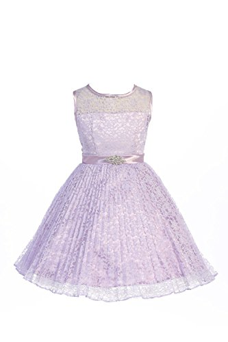 JM DREAMLINE Lovely Tulle Pleated Lace Flower Girl Dress (Burgundy Size 12)