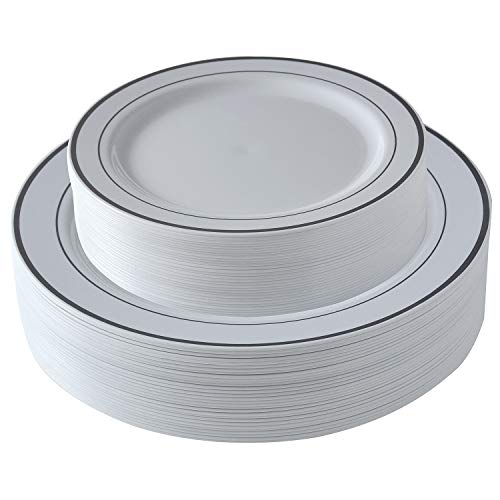 Select Settings [60 COUNT] White with Silver Rim Plastic Disposable Plates: 30 Dinner Plates and 30 Salad Plates