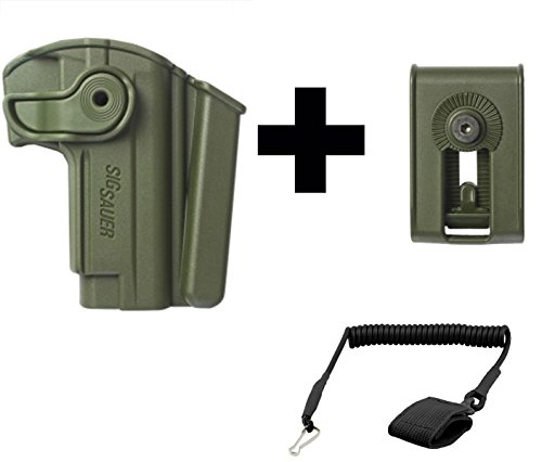 IMI Defense Z1280 Sig Sauer Mosquito 360° Rotate Holster with Integrated Mag Pouch Right Hand, OD Green + Z2150 Belt Clip Attachment + Ultimate Arms Gear Coiled Pistol Lanyard