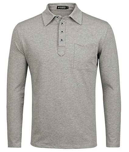 - Musen Men Long Sleeve Polo Shirts Cotton Classic Fit T-Shirt Grey 2XL