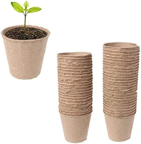 Greenhouse or Vegetables Nursery Organic Germination Seedling Trays for Garden 2.36 Inch Round Peat Nursery Pots Biodegradable Seedling Planters 50 Pcs Peat Pots Plant Containers