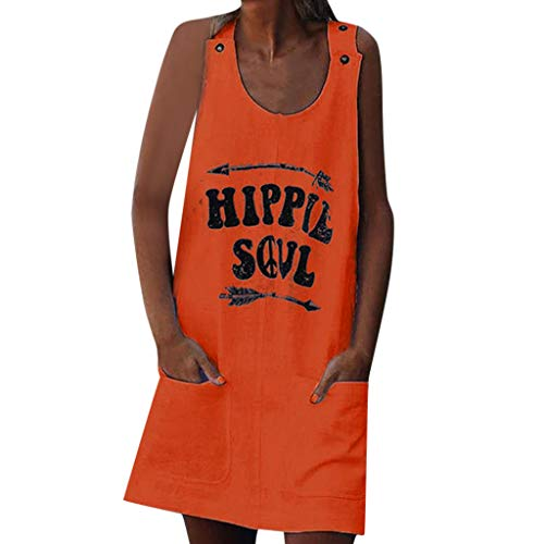 WatFY Dress Women Sundress Sleeveless Tank Skirt Hippie Soul Letter Print Ball Gown Casual Loose Pocket Shift Button Apron Mini Dresses (Orange 7, XL)]()