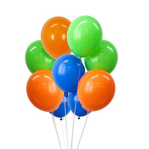 FUNPRT 10'' Blue Green Orange Latex Balloons,100 Count Boy Birthday Dinosaur Party