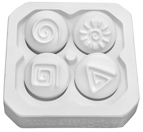 Mayco Spiral Design Press Tools, 1-3/4 in, White, Set of 4