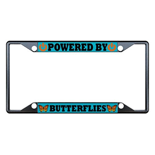 License Plate Covers Powered By Butterflies Animal Black License Plate Frame Tag Holder Four Holes