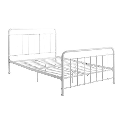 """DHP Brooklyn Metal Iron Bed w/ Headboard and Footboard, Adjustable height (7"""" or 11"""" clearance for storage), Sturdy Slats Included, No Box Spring Required, Full Size Mattress, White"""