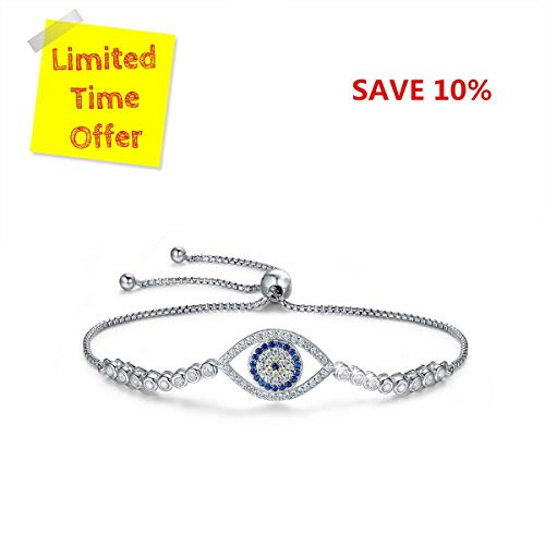 BAMOER 925 Sterling Silver Expandable Lucky Blue Evil Eye Chain Bracelet with Sparkling Cubic Zirconia for Women Girls Style 6 ()