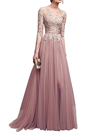 MisShow Women's A-line Evening Dresses Lace Tulle Long Prom Party Gowns Nude Pink
