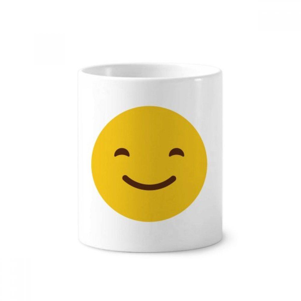 DIYthinker Amarillo sonrisa linda en línea para chatear Emoji cerámica titular taza del cepillo de dientes de la pluma blanca Copa 350ml regalo 9,6 cm de ...