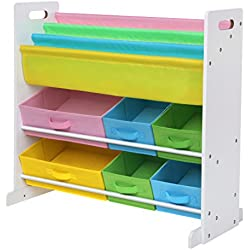 SONGMICS Children's Toy Storage Unit, with 6 Fabric Storage Containers and 3-Tier Book Shelf, Kids' Toy Organizer, Stable Base and Anti-toppling Straps Included UGKR48WT