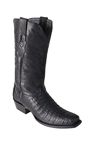 Genuine Los Black Exotic 7 Skin Toe Altos Boots Leather Belly Boots Men's Western Caiman OrBIx4r