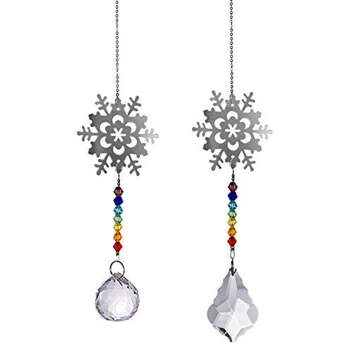 LONGSHENG Snowflake Crystal Suncatchers Hanging Crystals for Windows Chakra Crystals Ornament Pendant Set of 2, Prisms Ball Garden Light Catchers Christmas Tree Decor Car Mirror Rainbow Maker Gift