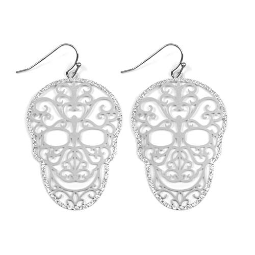 RIAH FASHION Sugar Skull Goth Punk Halloween Earrings - Calavera Lightweight Metallic Cutout Filigree Hook Dangles, Enamel, Acrylic Pearl Studs (Silver)
