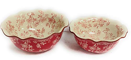 (Temp-tations Set of 2 Bowls Ruffle Edge, Mix, Bake, Serve, 2.0 Qt & 1.0 Qt (Floral Lace Red))