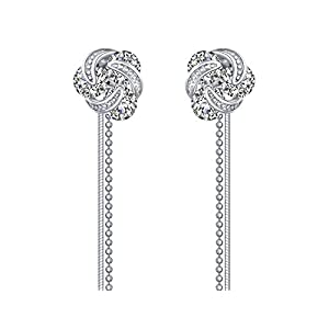 """Love Knot"" Sterling Silver Twisted Zirconia Stud Earrings( Long Tassel/Short Stud Changeable)"