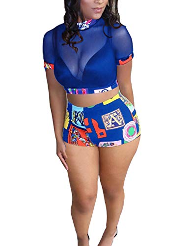 Rela Bota Women's 2 Piece Outfits Mesh Crop Top High Waist Shorts Party Clubwear Set Blue -