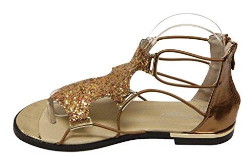 Per Sempre Rosie-30 Donna Glitter Con Finiture In Oro Strisce Chiusura Lampo Sandali Piatti Metallici Bronzo 6