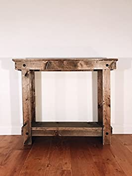Note Card Cafe Rustic Handcrafted Reclaimed Console Table – Self Assembly – Absolute Natural