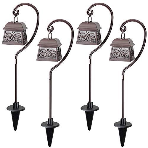 Solar Set Hanging Light (Maggift 22 Inch Hanging Solar Lights Multipurpose Shepherd Hook Lights with 4 Shepherd Hooks Outdoor Solar Coach Lights (4 Pack))
