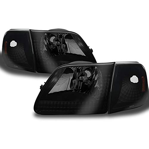 Xtune for 1997-2004 F150, 1997-1999 F250LD, 1997-2002 Expedition Darkside Black Smoked Headlights Pair L+R 1998 1999 2000 2001