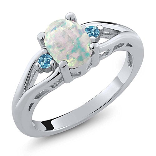 Oval 3 Stone Cabochon Ring - Gem Stone King 1.15 Ct Oval Simulated Opal Swiss Blue Simulated Topaz 925 Sterling Silver 3 Stone Ring (Size 7)