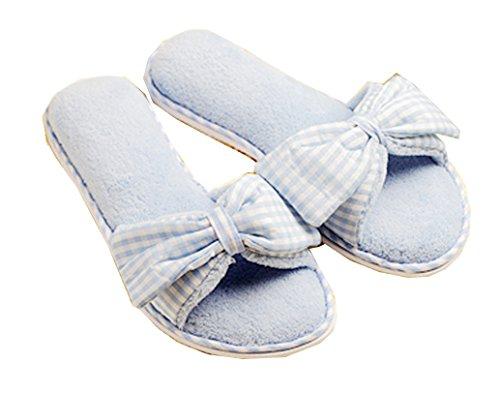 Blubi Womens Bowknots Open Toe Memory Foam Slippers House Slippers Sky Blue 6XXpBMGmc