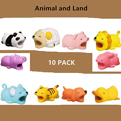 Cable Protector for iPhone iPad Cable Plastic Cute Land Animals Phone Accessory Protects USB Charger Data Protection Cover Chewers Earphone Cable Bite (Animals, 10 PC) -