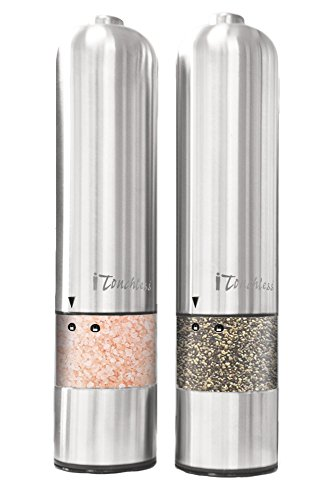 Automatic Set - iTouchless Automatic Electric Salt and Pepper Grinder Set – Stainless Steel Construction – Battery Operated – Adjustable Coarseness – LED Light, 2 Count