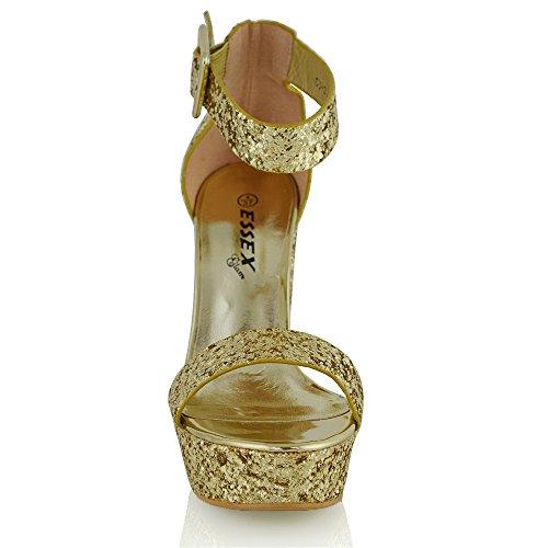Essex Glam Womens Ankelbandet Plattform Konstläder Sandaler Guld Glitter