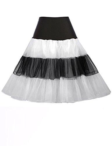 Stripe Crinoline Party Dress Skirts for Santa Claus Costume (M, Black&White) -