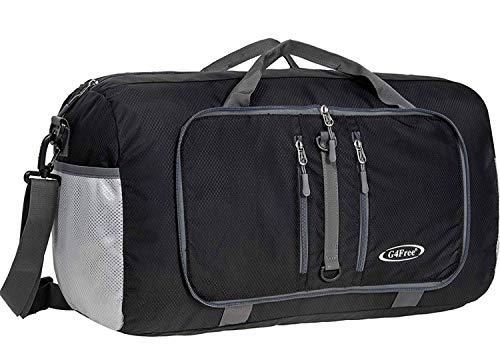 G4Free Foldable Travel Duffle Bag Lightweight 22 Inch for Luggage, Sports, Gym(Black)