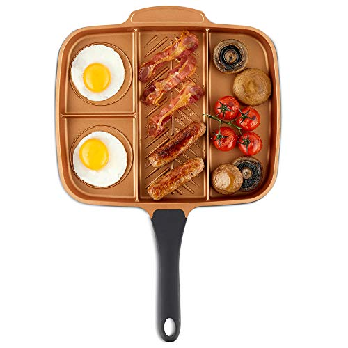 VonShef Grill Pan Non Stick Aluminum, Easy Clean Griddle With Copper Colored Interior and Stainless Steel Handle, Induction Hob Ready, 11 Inches Diameter 11 Diameter 4-in1 Divided Pan