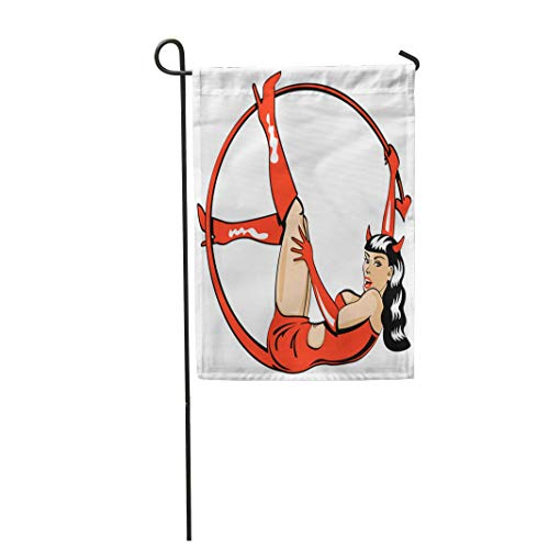 (Tarolo Decoration Flag Vintage Retro Pinup Girl Woman Dressed in Devil Outfit As If for Costume Halloween Party and Wearing Patent Go Boots Thick Fabric Double Sided Home Garden Flag)