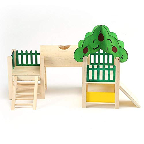 Hamster Houses and Hideouts, Natural Living Tunnel System, Rat Playground Activity Set Platform with Tube/Fences/Ladders/Roofs Play Toys for Mouse,Gerbil, Small Animals