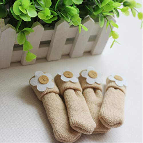(4 Pcs/Set Thick Knitted Dining Table Chair Leg Socks Stool Mat Protective Case Chair Booties Sleeve Chair Cover White Other)