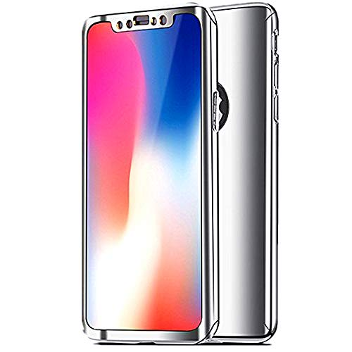 iPhone X Case Slim 360 Degrees Full Body Protection 3IN1 Anti-Scratch Plating Mirror Case Cover with Tempered Glass Screen + Hard PC Protector (iPhone x, Silver)