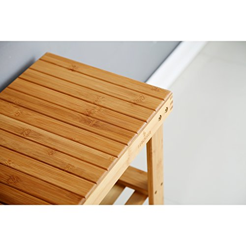 Natural Bamboo Entryway Bench (27.6'' X 11.2'' X 17.9''), Mosa Hallway Wood Shoe Bench Wooden Shoe Rack Bedroom by Mosa (Image #5)