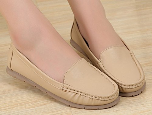 Round Low Shoes On Top Slip Flats Toe Apricot Womens Fashion Closed Easemax BWSRfn