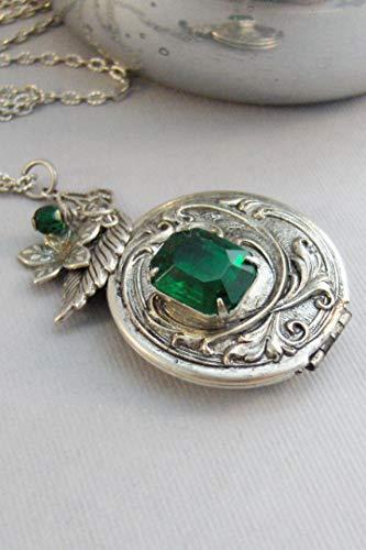 - Spring Ivy,Vintage Locket,Vintage Emerald,Vintage Necklace,Emerald Necklace,Emerald Pendant,May Birsthstone,Birthstone,valleygirldesigns